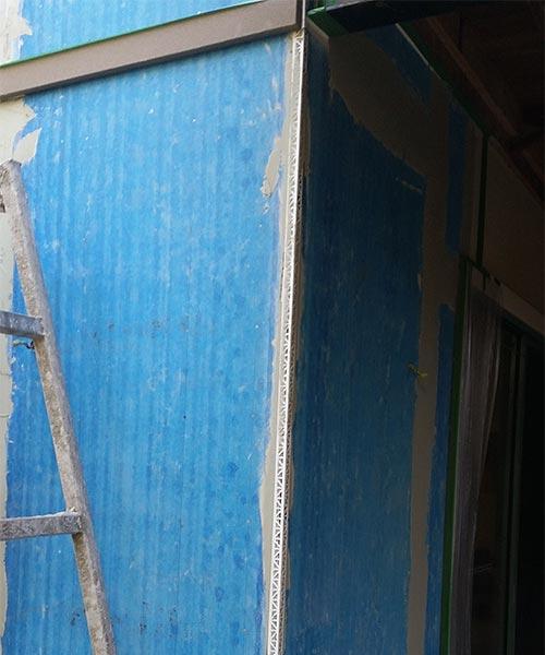 Blue boards are beign prepared for 2mm granosite render